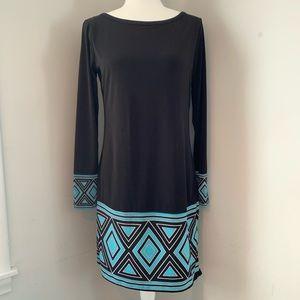 Michael Kors Black Blue Shift Dress Long Sleeve M